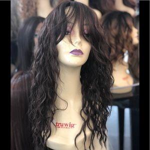 Brown wig Bangs highlights curly Wig 2020